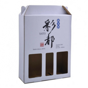 Corrugated Board Box for Sake Bottles with Handle