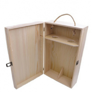 Wooden Wine Box with Handle (Double)